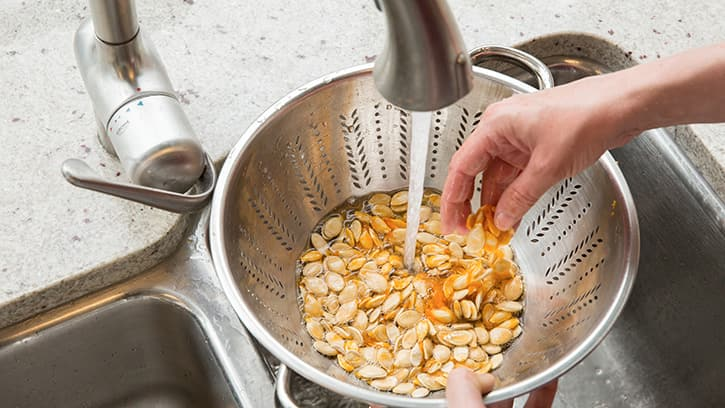 Wash Pumpkin Seeds For Roasting